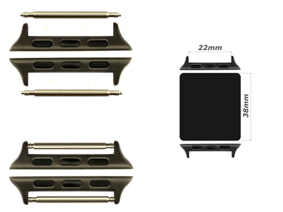 Watch Strap Adapters for Apple Watch 38mm - SS. Black Brushed, Spring Bar, 22mm