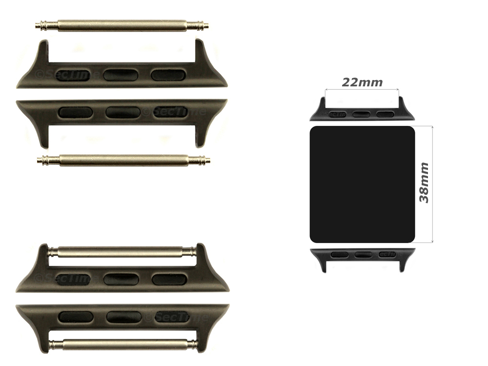 Watch Strap Adapters for Apple Watch 38mm, Strap Width 22mm, Spring Bars, Brushed Black