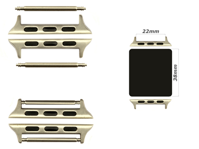 Watch Strap Adapters for Apple Watch 38mm - SS. Silver Brushed, Spring Bar, 22mm