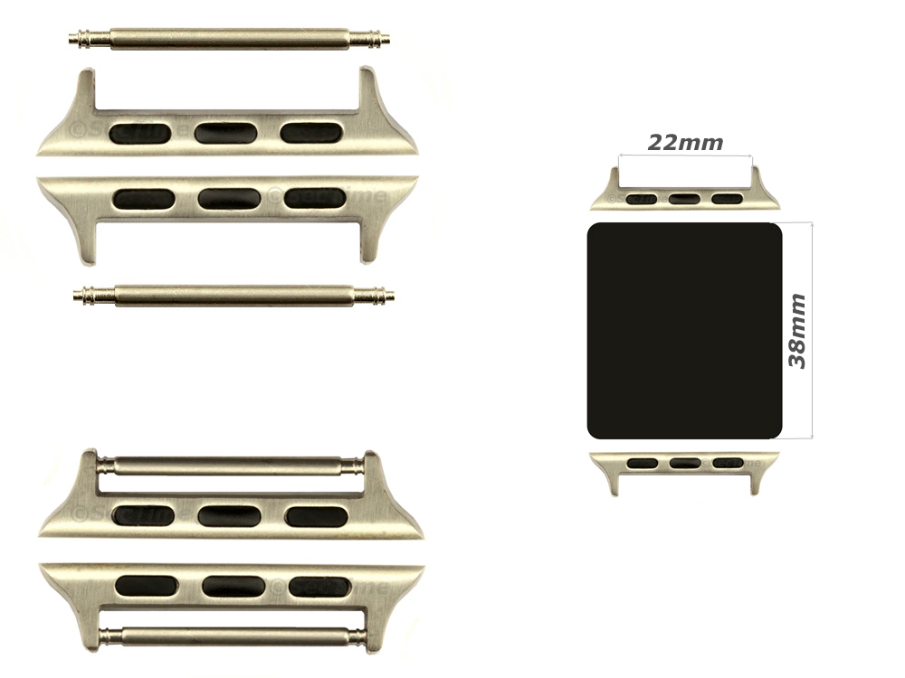 Watch Strap Adapters for Apple Watch 38mm, Strap Width 22mm, Spring Bars, Brushed Silver