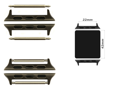 Watch Strap Adapters for Apple Watch 42mm - SS. Black Brushed, Spring Bar, 22mm