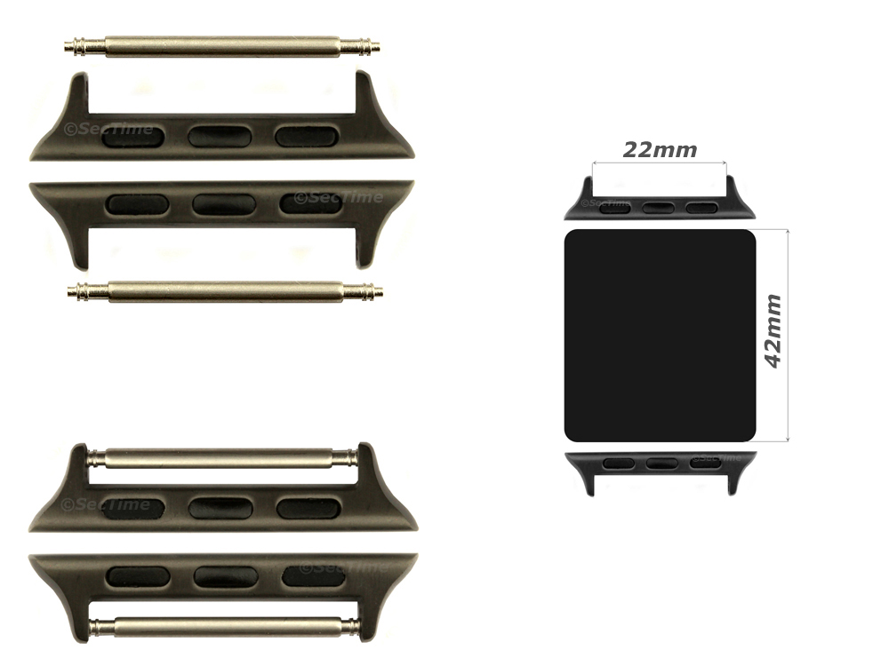 Watch Strap Adapters for Apple Watch 42mm, Strap Width 22mm, Spring Bars, Brushed Black