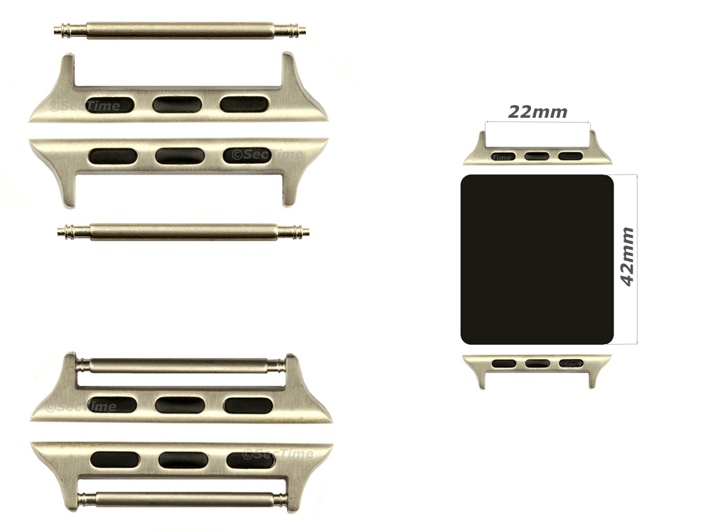 Watch Strap Adapters for Apple Watch 42mm, Strap Width 22mm, Spring Bars, Brushed Silver