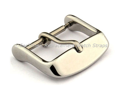 Polished Silver-Coloured Stainless Steel Standard Watch Strap Buckle 18mm