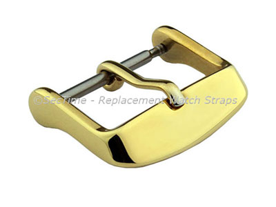 Polished Yellow Gold-Coloured Stainless Steel Standard Watch Strap Buckle 18mm