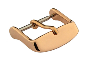 Polished Rose Gold-Coloured Stainless Steel Standard Watch Strap Buckle 18mm