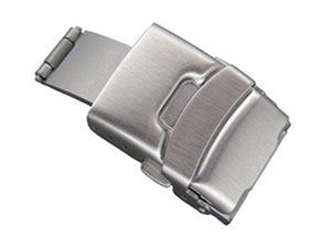 Brushed Silver-Coloured Stainless Steel Watch Strap Deployment Clasp 18mm