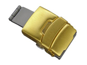 Brushed Yellow Gold-Coloured Stainless Steel Watch Strap Deployment Clasp 18mm