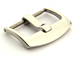 Polished Silver-Coloured Stainless Steel Watch Strap Buckle BRD 22mm