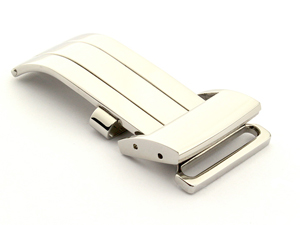 20mm Polished Silver-Coloured Deployment Clasp for Breitling Style Watch Straps