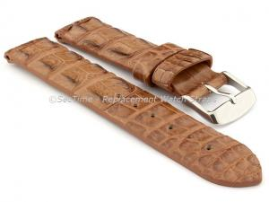 Genuine Alligator Leather Watch Strap FLORIDA Brown 22mm