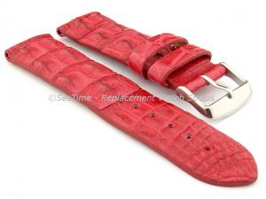 Genuine Alligator Leather Watch Strap FLORIDA Red 20mm