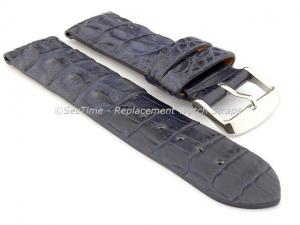Genuine Alligator Leather Watch Strap FLORIDA Navy Blue 22mm