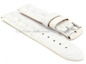 Genuine Alligator Leather Watch Strap FLORIDA White 18mm