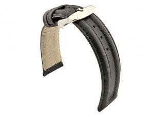 WATCH STRAP BASEL Genuine Leather Black/Black 18mm