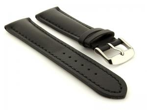 Padded Watch Strap Band CANYON Genuine Leather Black/Black 22mm