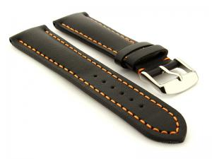 Padded Watch Strap Band CANYON Genuine Leather Black/Orange 22mm