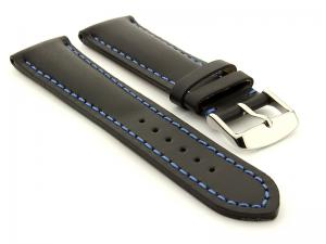 Padded Watch Strap Band CANYON Genuine Leather Black/Blue 22mm