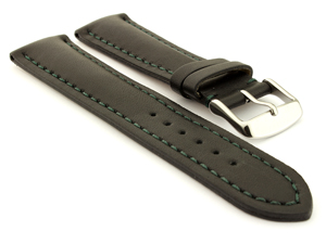 Padded Watch Strap Band CANYON Genuine Leather Black/Green 18mm