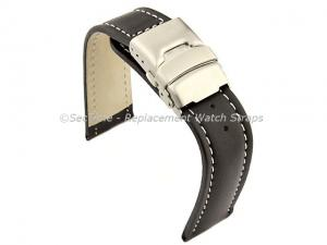 Genuine Leather Watch Strap Band Canyon Deployment Clasp Black/White 26mm