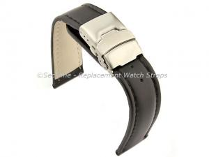 Genuine Leather Watch Strap Band Canyon Deployment Clasp Black/Black 18mm