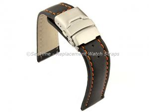 Genuine Leather Watch Strap Band Canyon Deployment Clasp Black/Orange 24mm