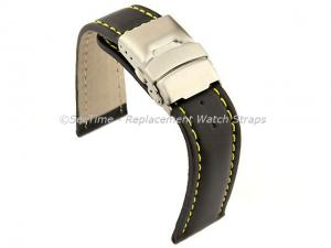 Genuine Leather Watch Strap Band Canyon Deployment Clasp Black/Yellow 18mm