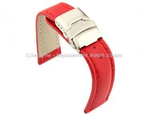 Genuine Leather Watch Strap Band Canyon Deployment Clasp Red/Red 24mm