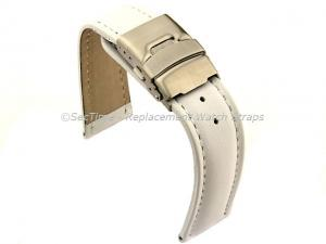 Genuine Leather Watch Strap Band Canyon Deployment Clasp White/White 26mm