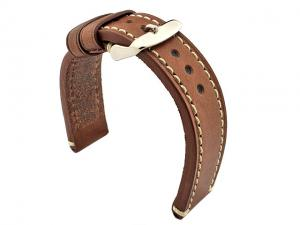 Genuine Leather WATCH STRAP Catalonia WAXED LINING Dark Brown/White 18mm