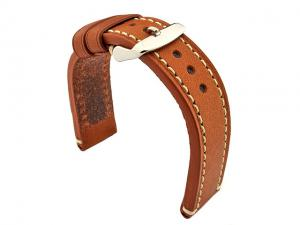 Genuine Leather WATCH STRAP Catalonia WAXED LINING Brown (Tan)/White 24mm