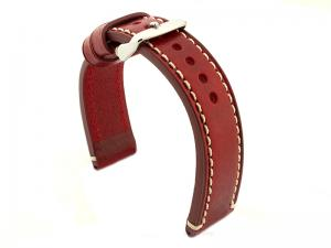Genuine Leather WATCH STRAP Catalonia WAXED LINING Red/White 20mm