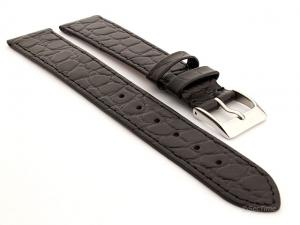 Genuine Leather Watch Strap Croco Arizona Black 18mm