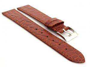 Genuine Leather Watch Strap Croco Arizona Brown 14mm