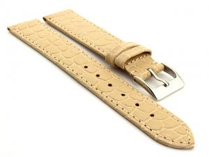 Genuine Leather Watch Strap Croco Arizona Cream 18mm