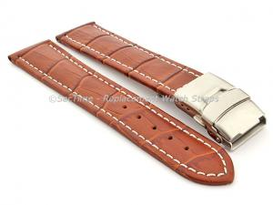 Genuine Leather Watch Band Croco Deployment Clasp Brown / White 26mm