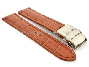 Genuine Leather Watch Band Croco Deployment Clasp Brown / Brown 26mm