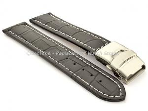 Genuine Leather Watch Band Croco Deployment Clasp Black / White 22mm
