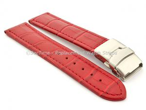 Genuine Leather Watch Strap Croco Deployment Clasp Red / Red 20mm