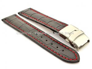 Genuine Leather Watch Band Croco Deployment Clasp Black / Red 22mm