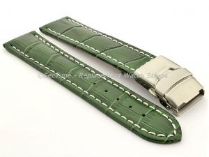 Genuine Leather Watch Band Croco Deployment Clasp Glossy Green / White 22mm
