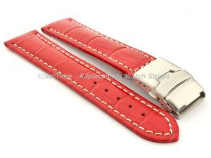 Genuine Leather Watch Band Croco Deployment Clasp Glossy Red / White 26mm
