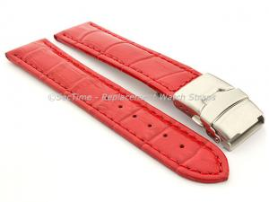 Genuine Leather Watch Strap Croco Deployment Clasp Glossy Red / Red 20mm