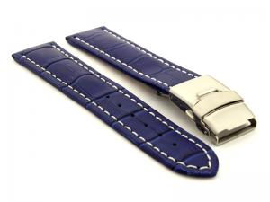 Genuine Leather Watch Band Croco Deployment Clasp Blue / White 26mm