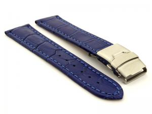 Genuine Leather Watch Strap Croco Deployment Clasp Blue / Blue 24mm