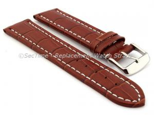 Leather Watch Strap CROCO RM Brown/White 22mm