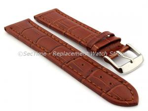 Leather Watch Strap CROCO RM Brown/Brown 26mm