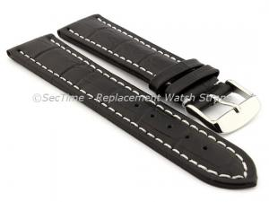 Leather Watch Strap CROCO RM Black/White 30mm