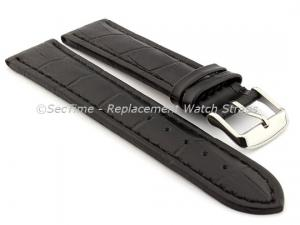 Leather Watch Strap CROCO RM Black/Black 24mm