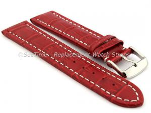 Leather Watch Strap CROCO RM Red/White 22mm
